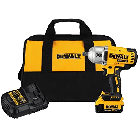 DEWALT 20V Max XR Impact Wrench Kit, Brushless, High Torque, Detent Pin Anvil, 1/2-Inch, Cordless (DCF899M1)