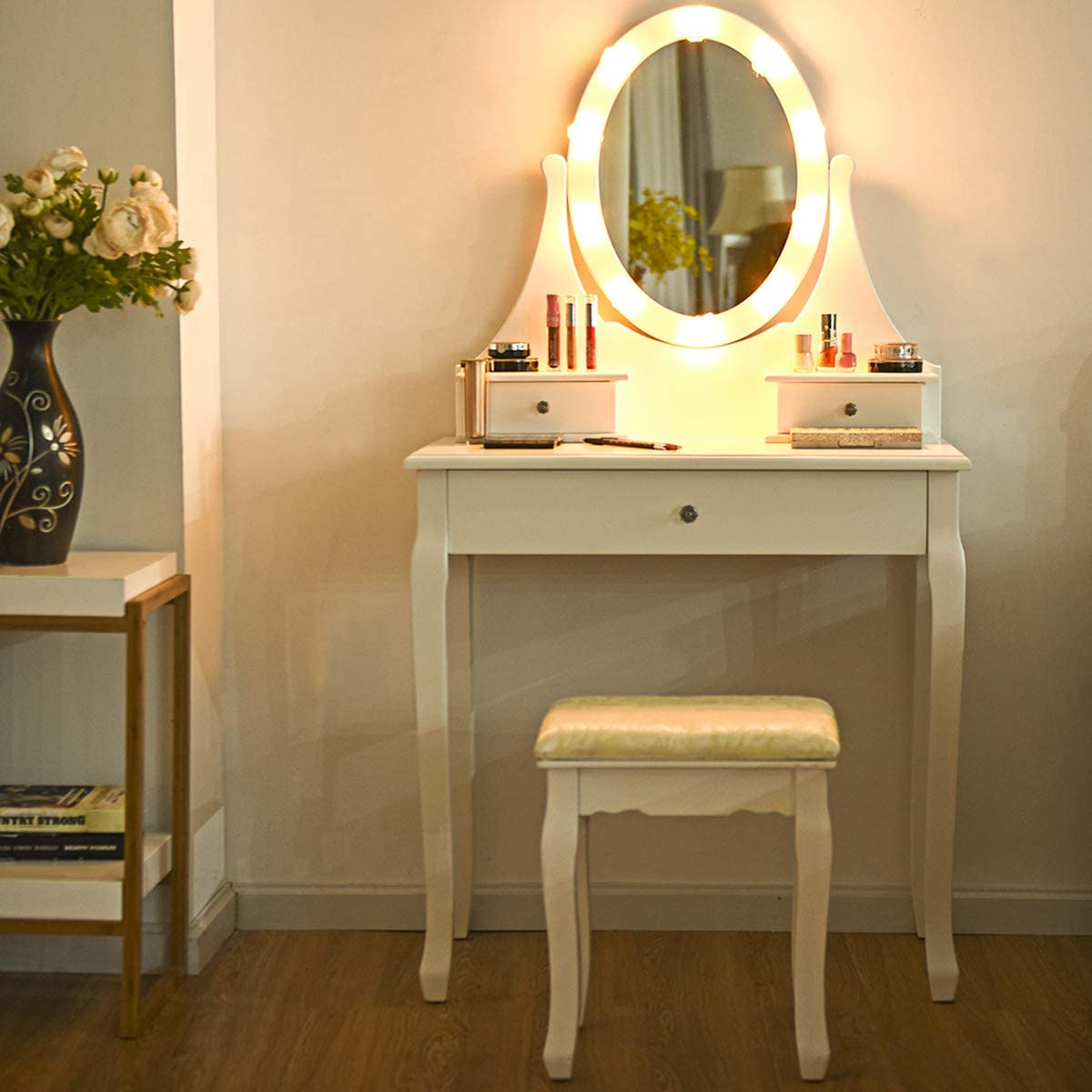 Giantex Vanity Set Boston Mall with 10 LED and Lights Stool Cushioned Mirror Special sale item