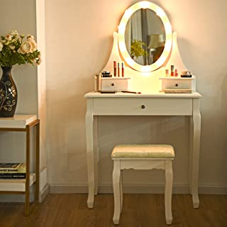 Giantex Vanity Set with Lighted Mirror, Makeup Table with 10 Rose Light, Modern Dressing Desk with Cushioned Stool, 3 Drawers and 360° Rotating Mirror for Bedroom, Vanity Table with Stool (White)