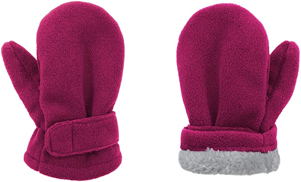 Durio Kids Mittens Toddler and Baby Lined Fleece Winter Mittens Sherpa Baby Boy and Girl Unisex Gloves Pink & Claret Large (Fits 2-4 Years)