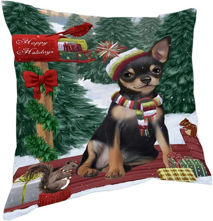 Merry Christmas Woodland Sled Chihuahua Dog Pillow Pil76860 14x14 Home Kitchen Amazon Com