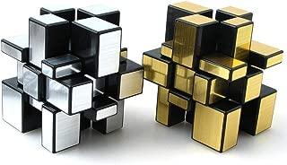 IETONE Mirror Speed Cube Puzzle 3x3x3 Gold and Silver Mirror Magic Cube Irregular Speedcubing Set 2 Pack