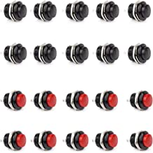 Clyxgs Momentary Push Button Switch, SPST Mini Switches with No Lock Round 3A AC250V / 6A AC125V Black & Red Cap