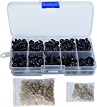 baotongle 150 Pcs 6-12mm Plastic Safety Eyes with Washers for Doll Making Puppet (Black)