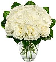 Flowers - One Dozen White Roses (Free Vase Included)