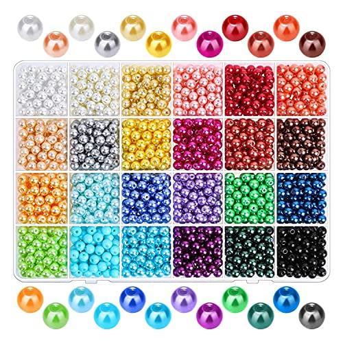Runtodo 1680 Piezas 6Mm 24 Colores Cuentas de Perlas Redondas con Agujeros para Hacer Joyas, Cuentas Espaciadoras Sueltas para Manualidades DIY, FabricacióN de Joyas