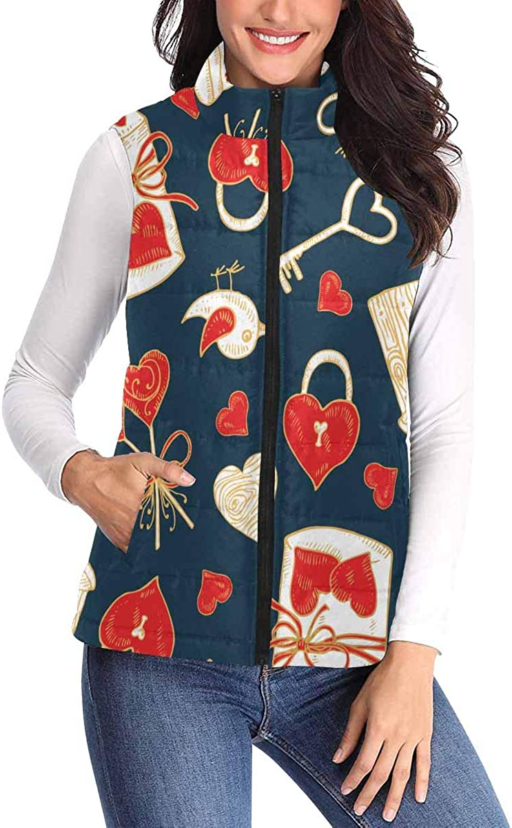 InterestPrint All Over Print Padded Vest Selling and selling for with Women Limited price sale D Pocket