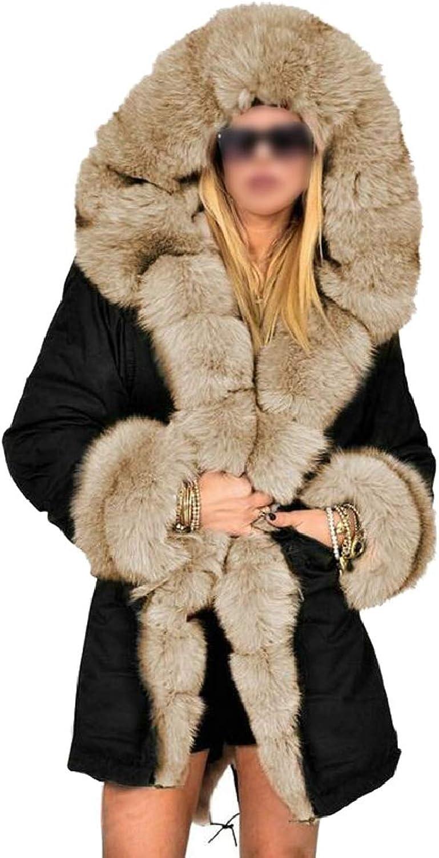 LKCENCA Women Faux Fur Parka Hooded Trench Coat Winter Jacket Thick Warm Coat