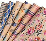 RUSPEPA Hoja De Papel Kraft Para Envolver - Pincel Para Dibujar Flores/Hojas/Diseño Geométrico - 6 Hojas Empaquetadas Como 1 Rollo - 44,5 X 76 cm Por Hoja