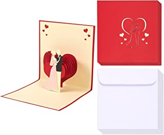 Wedding Greeting Cards Bulk - 6-Pack 3D Wedding Cards, Bride and Groom Heart Backdrop Theme, Wedding Congratulations Cards, Includes Envelopes, 4.7 x 4.7 Inches
