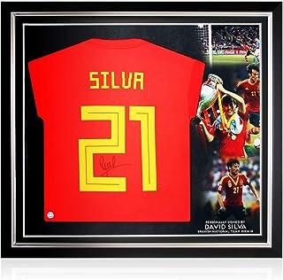 exclusivememorabilia.com Camiseta de fútbol de España 2018-19 firmada por David Silva. Marco Premium: Amazon.es: Deportes y aire libre