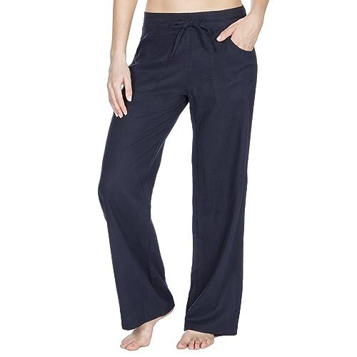 21758e34adb Metzuyan Womens Linen Summer Drawstring Trouser Pants