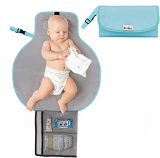 Zooawa Portable Diaper Changing Pad Mat Waterproof Folding Station Clutch Travel Carrying Bag with Built-in Pillow for Baby Infants, Blue