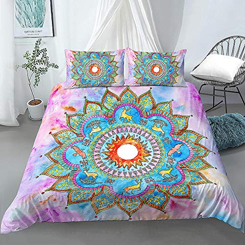 Prinbag Mandala Bedding Set Mandala Duvet Cover With Pillowcase Duvet Cover Set Home Textiles 220x260cm + 50x75cm * 2
