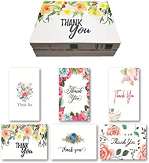 D SERIES Blank Floral Thank You Cards with Envelopes and 48 Matching Stickers for Bridal Shower, Wedding, Baby, Teacher - Cute Rustic Boho Floral Watercolor Custom Stationery Note Set (36 Pack)