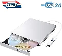 VicTsing Masterizzatore CD DVD Esterno USB 3.0, Lettore CD Esterno per PC Portatile con Adattatore di Tipo-C, Unità Dvd Esterna per Win 10/8/7/XP/Vista/Linux/Mac OS, Argento