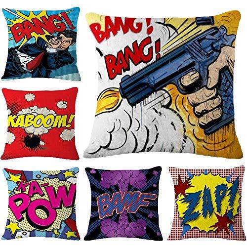 LEV Cushion Cover - Cushion Cover Pop Art Boom Pillows Cover Fashion Linen Pillow Case Home Decoration Car Sofa Decorative Pillowcase 45x45cm - by 1 PCs