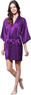 Personalized Embroidered and Monogrammed Women's Pure Color Satin Short Kimono Bridesmaids Lingerie Robes