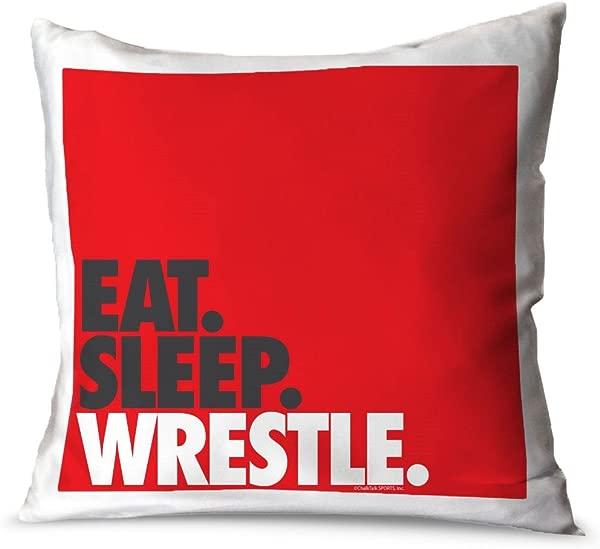 ChalkTalkSPORTS Wrestling Decorative Throw Pillow Eat Sleep Wrestle Stack Red Small