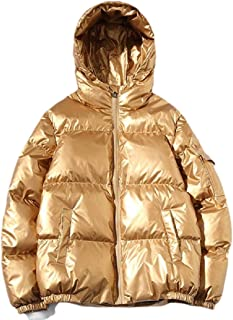 desolateness Men's Winter Warm Thicken Quilted Hooded Metallic Puffer Coat Down Jacket