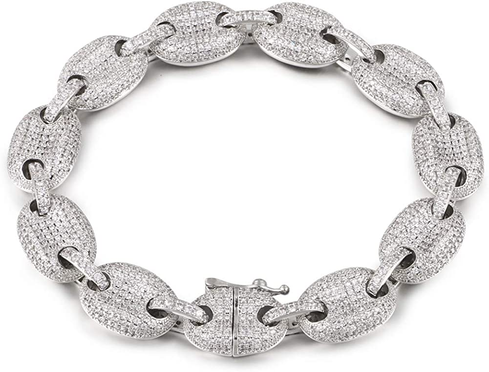 8MM 10MM 12MM 20MM Cuban Max 76% OFF Bracelet We OFFer at cheap prices Plate 18K Out Iced White Gold