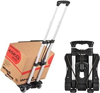 Hivexagon Folding Luggage Cart Heavy Duty Travel Trolley 40kg/88lbs Load Capacity Lightweight & Durable for Luggage, Trave...
