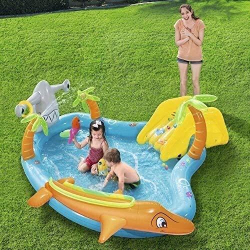 Geng Piscinas hinchables Los niños Piscina Inflable, Suave Pez delfín Inflable Piscina for niños con toboganes de Agua del océano de la Bola de 2-4 años de Edad Chico