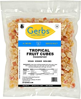 Gerbs Dried Tropical Fruit Mix, 2 LBS. - Unsulfured -Top 14 Food Allergy Free & NON GMO - Diced Mango, Pineapple, Papaya Sweetened