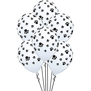 Paw Prints-A-Round Biodegradable Latex Balloons, White with Black paw prints All-Around, 11-Inch (15-Units)