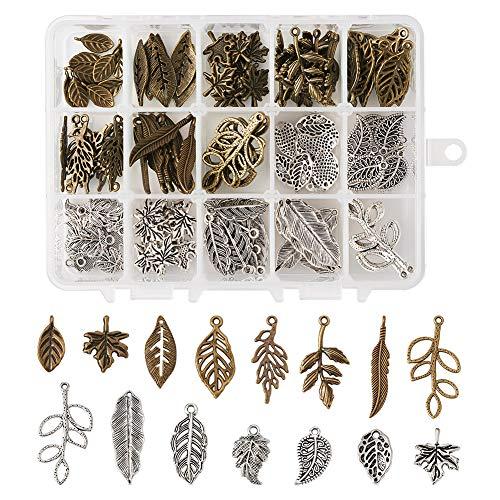 Cheriswelry 150 Stück tibetische Blatt-Anhänger aus Legierung, gemischte Farben, Baumblätter, Anhänger für Schmuckarmbänder.