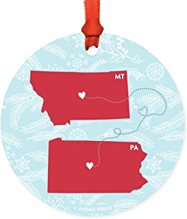 Andaz Press Round Keepsake Christmas Ornament Long Distance Gift, Pennsylvania and Montana, Winter Blue and Red, 1-Pack, Metal Moving Away Graduation University College Gifts for Him Her