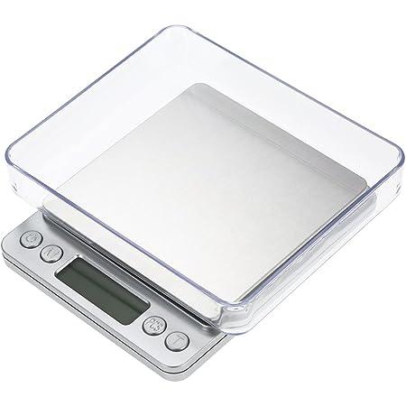 Balance de cuisine, Smart Weigh Balance de cuisine et de nourriture et bijoux avec plateau en acier inoxydable, avec 2 plateaux, 6 unités pour convertir, précision 500/0,01 g (sans batterie)