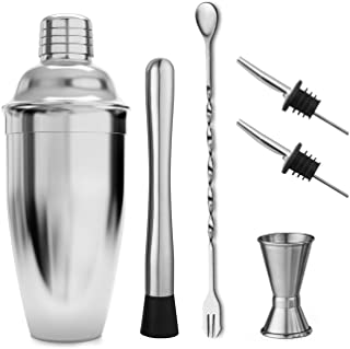 Cocktail Shaker Set by STONEKAE:24 oz Stainless Steel Cocktail Shaker with Strianer,Jigger,Muddler, Mixing Spoon,2 Pourers, Professional Kit Gift