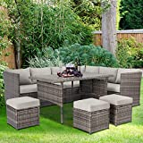U-MAX Patio Furniture Sets 7 Pieces Outdoor Conversation Set All Weather Wicker Sectional Sofa Couch Dining Table Chair with Ottoman (Gray)