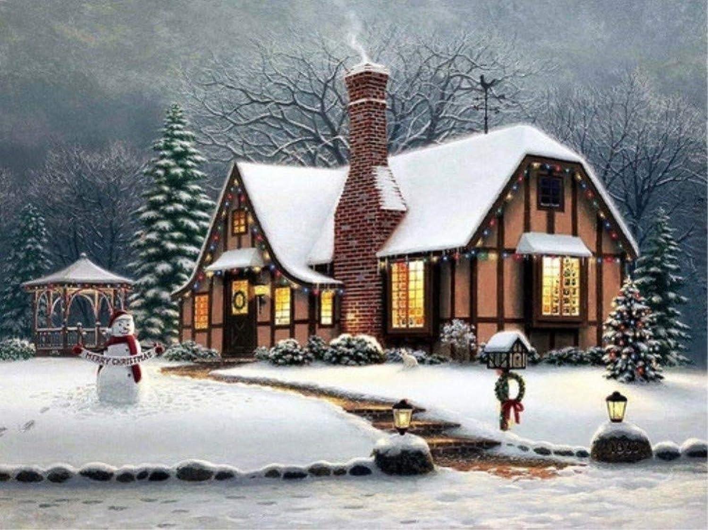 Malen Sie Nach Zahlen Für Kinder DIY Frohe Weihnachten Schneemann Weihnachtsbäume Warme Kabine Für Erwachsene 40x50cm with Combination Frame B07PNYKGDZ | Neues Design