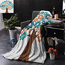 ZSUO Bed Blanket Innovation Gears Concept Tree System of Nature Cooperation Start Up Modern Graphic for Bed & Couch Sofa Easy Care 70