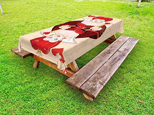 ABAKUHAUS Märchen Outdoor-Tischdecke, Königin Karten, dekorative waschbare Picknick-Tischdecke, 145 x 265 cm, Rotbraun Ecru