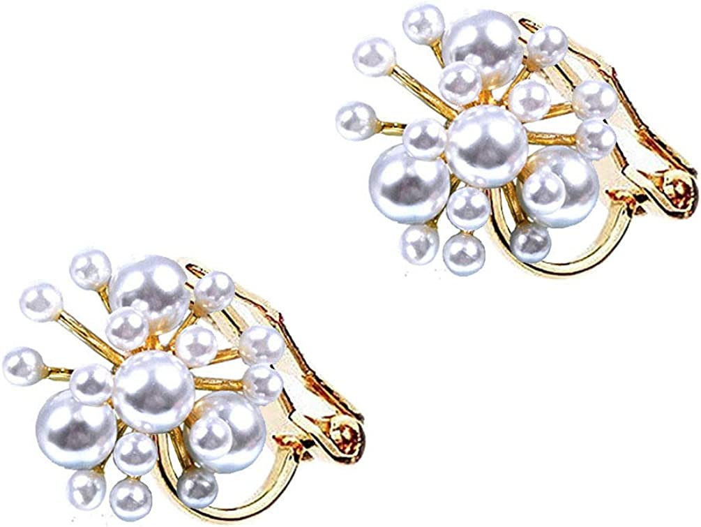 Clip on Earrings Faux Pearl Flower Women Teen Girls Prom Banquet Gold Plated Plant Earrings Soft Pads