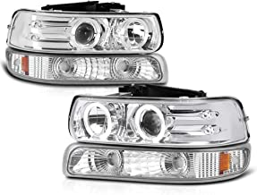 VIPMOTOZ Chrome LED Halo Ring Projector Headlight + Front Bumper Parking Turn Signal Lamp Housing Assembly Replacement For 1999-2002 Chevy Silverado 1500 2500 3500 & 2000-2006 Tahoe Suburban