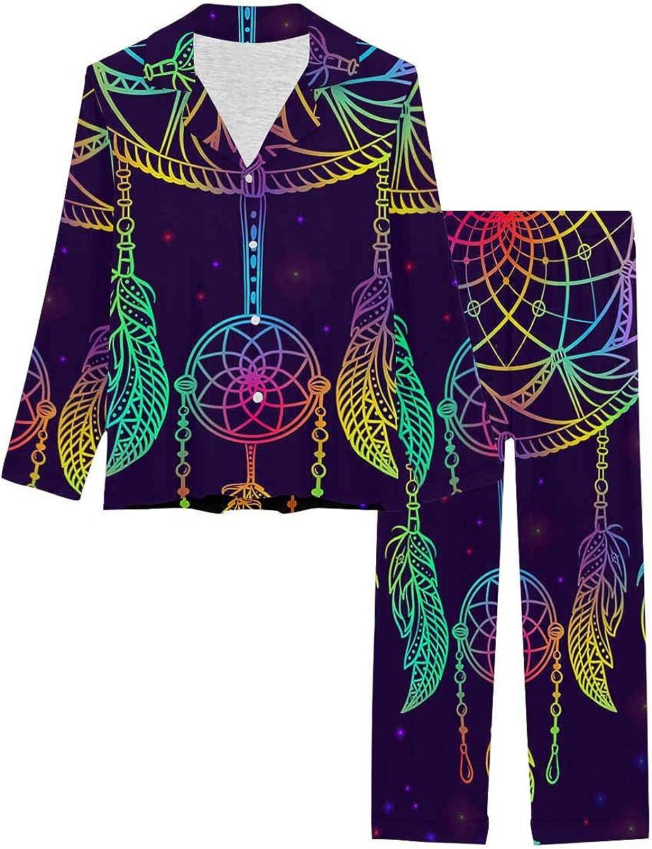 InterestPrint Long Sleeve Button Down Nightwear with Long Pants Dream Catcher