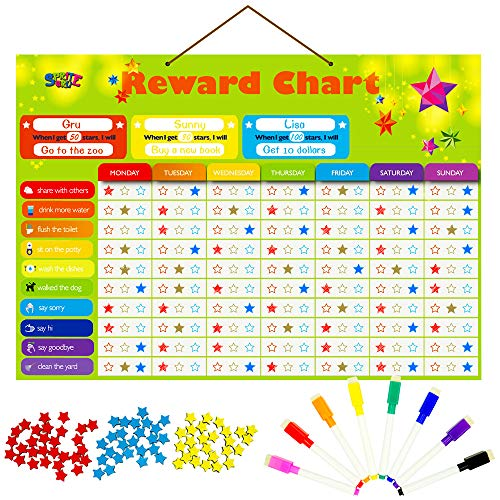 Magnetic Reward Behavior Star Chore Chart for One or Multiple Kids, Includes 8 Markers + 60 Foam Backing Illustrated Chores + 300 Stars in Red, Yellow, Blue. X- Large 17X12 inch. Hanging Loop READY!