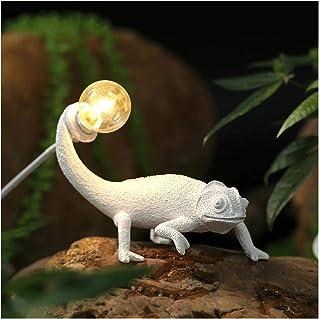 XDJ LED Lagartija Luz De Noche, Seletti Nórdico Sala Habitación Lámpara De Mesa para Moderno Animal Camaleón Lámpara De Pared, Resina Decoración Luminarie Blanco