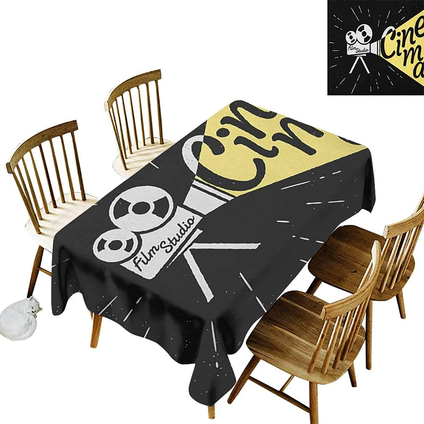 Camping Outdoor Tablecloth W50 x L80 Movie Theater Movie Projector Sketch with Grunge Cinema Lettering on Black Backdrop Yellow Black White Suitable for Traveling Outdoors Family Restaurant Coffee s