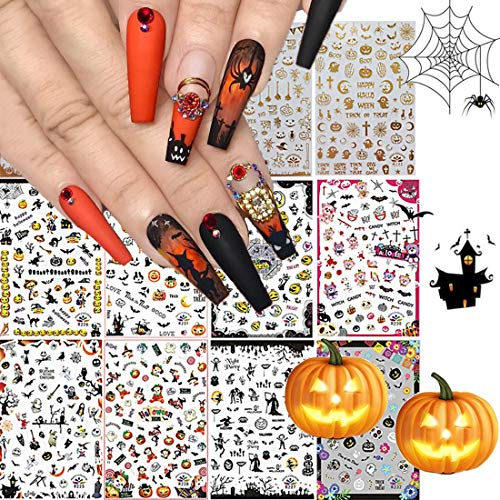 12 Sheets Halloween Nail Stickers Decals, Kalolary Self-Adhesive Nail Art Sticker Decals 3D Design Nail Art Tips Stencil Nail Decorations for Halloween Party Include Pumpkin/Bat/Ghost/Witch/Skull