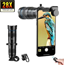 Apexel Phone Camera Lens 28X Zoom Telephoto Lens with Remote Shutter for Bird Watching Works with iPhone 11/ Pro/Pro Max Samsung Pixel Android Any Smartphones