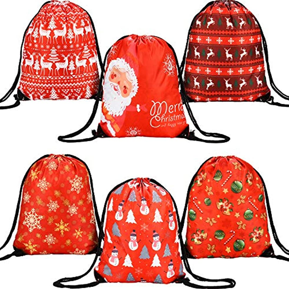 Gejoy 6 Pieces Christmas Drawstring Gift Bags Santa Backpack Goody Treat Bags for Christmas Festival Decor