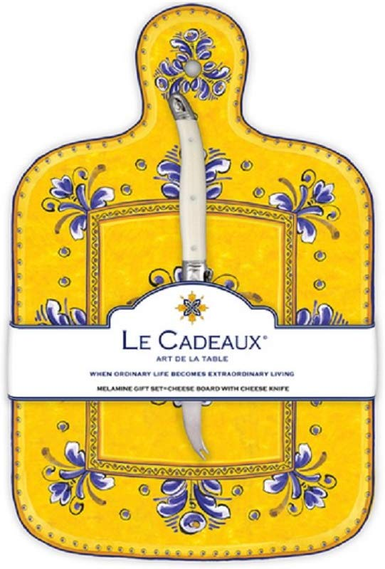 Le Cadeaux Benidorm Cheese Board With Knife Yellow