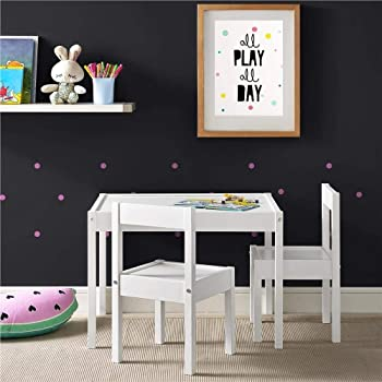 Malina White Kids Table With 2 Chairs Mdf Table 25x18x19 Inches Wxhxd Chair 11x19x11 In White Amazon In Home Kitchen