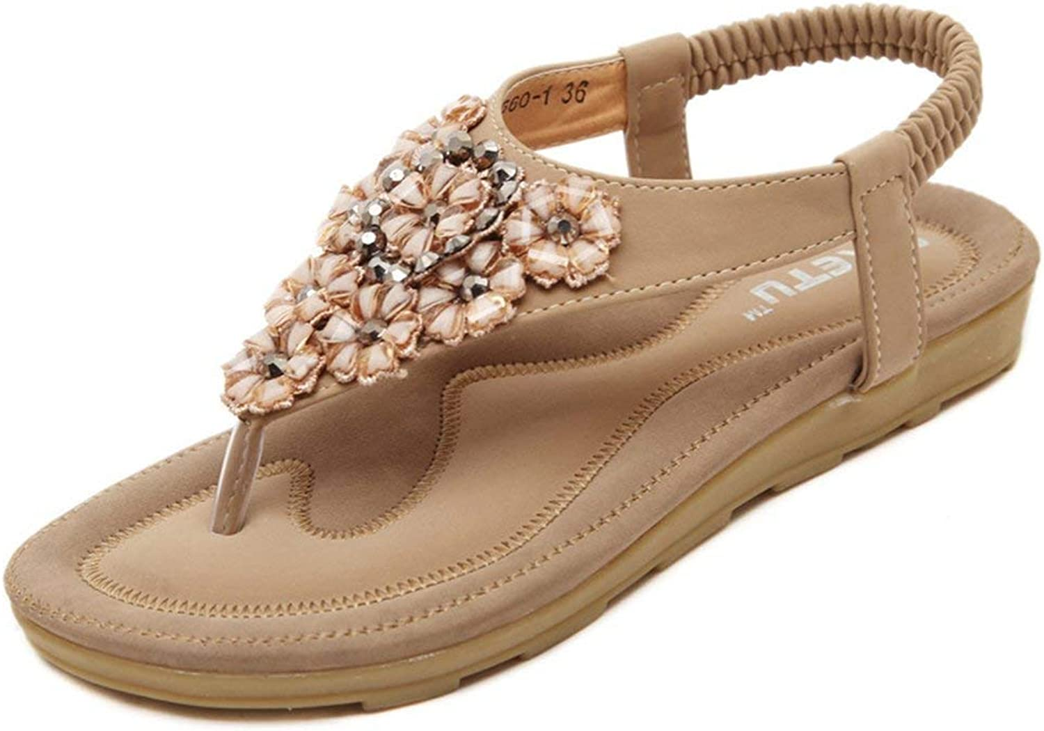 Ghapwe Women's Bohemian Rhinestone Flowers Casual Beach Thongs Flat Sandals Pink 6 M US