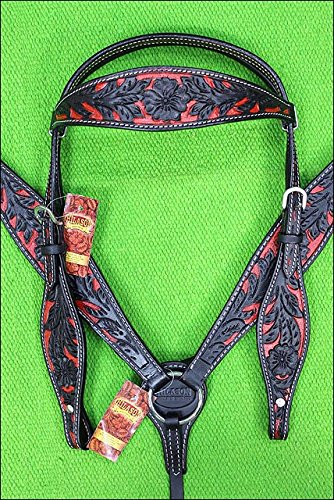 HILASON Western Horse Headstall Breast Collar Set American Leather Red